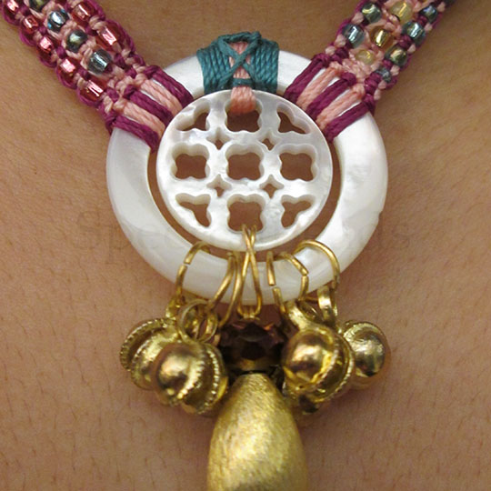 Mother-of-pearl and seed bead micro-macrame necklace with brass bells