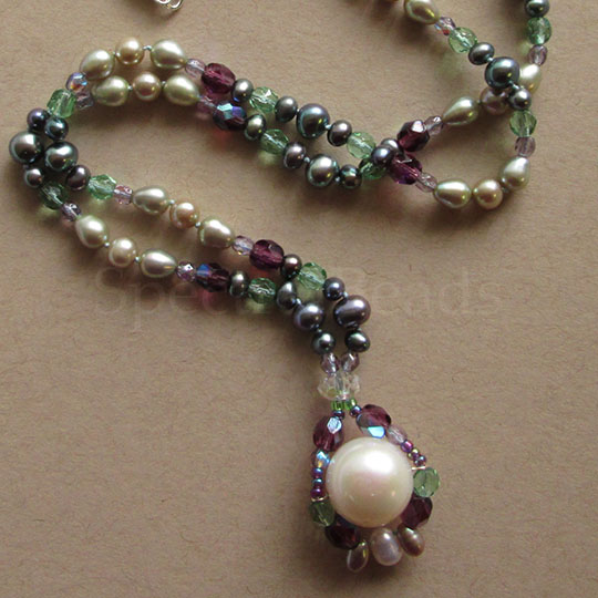 Multicolored pearl and glass necklace