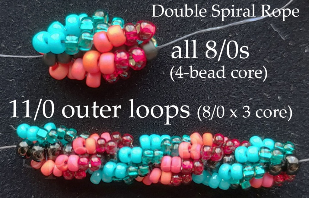 Comparison of scale between a beaded double spiral rope made with all 8/0 beads, as versus made with an 8/0 core and 11/0 beads around the outside.